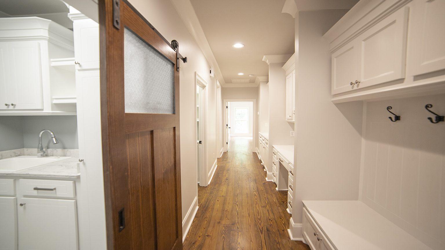 Barn door in hallway in Flowood Mississippi