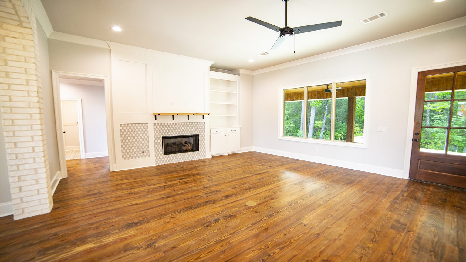 Pine flooring and fireplace in Flowood Mississippi